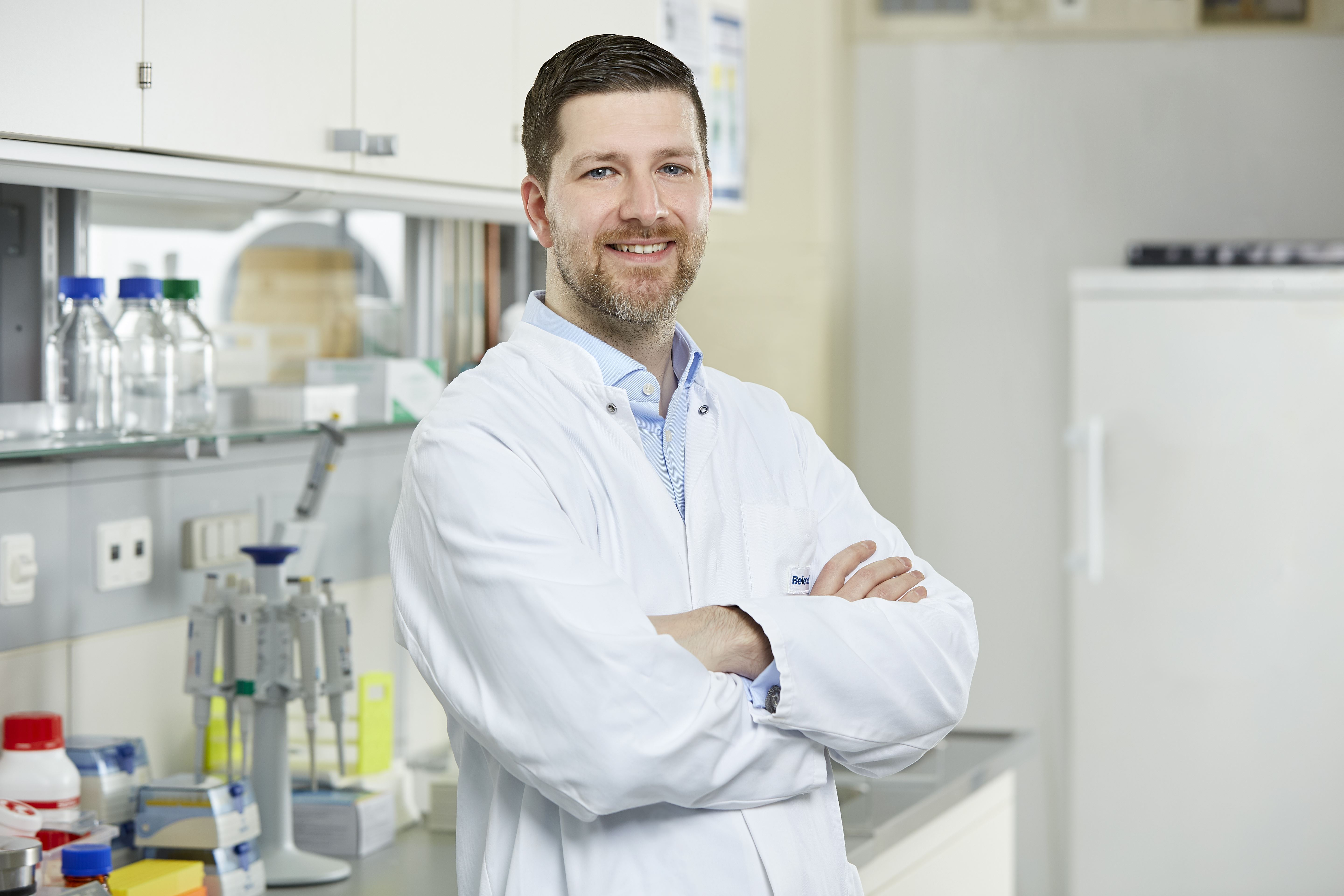 Health Care Lab Manager Simon Van Leeuwen in the lab