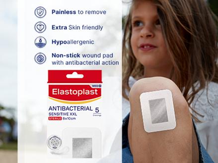 Elastoplast Antibacterial Sensitive XXL plasters key benefits