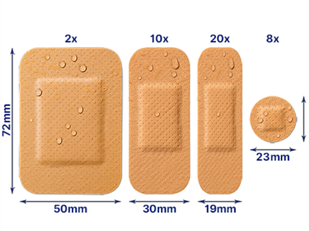 Water resistant 40 plasters out of pack